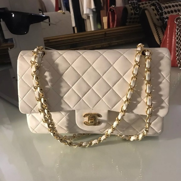 36f1ca8d65471e CHANEL Bags | Sold Auth White Lambskin Double Flap 255 | Poshmark